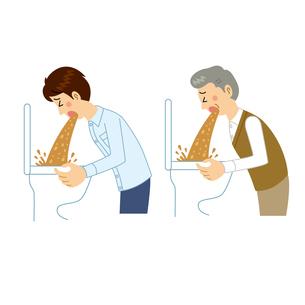 トイレに吐く男性のイラスト素材 [FYI04897751]