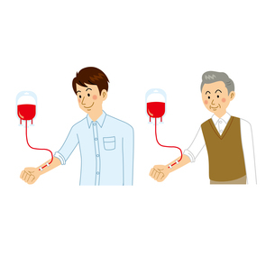 輸血をする男性のイラスト素材 [FYI04897754]