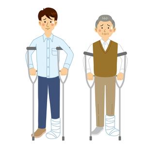 足を骨折する男性のイラスト素材 [FYI04897756]