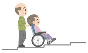 車椅子介助のイラストレーションのイラスト素材 [FYI04897826]