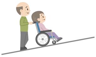車椅子介助のイラストレーションのイラスト素材 [FYI04897827]
