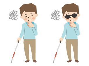 白杖を持った視覚障がいの男性のイラスト素材 [FYI04897828]