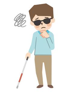 白杖を持った視覚障がいの男性のイラスト素材 [FYI04897830]
