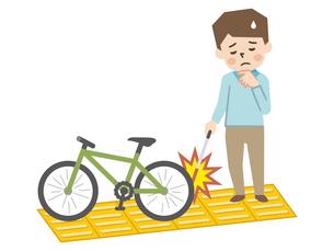 点字ブロック上に自転車があり歩行困難な視覚障がいの男性のイラスト素材 [FYI04897832]