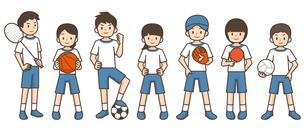 色々なスポーツをする子供たちのイラスト素材 [FYI04898018]