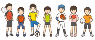 色々なスポーツをする子供たちのイラスト素材 [FYI04898019]