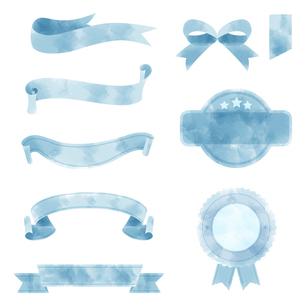 水彩画タッチのリボン素材セットのイラスト素材 [FYI04898069]