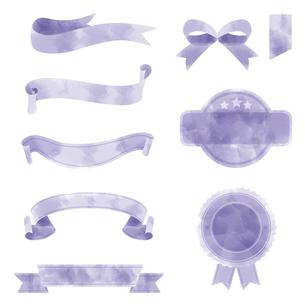 水彩画タッチのリボン素材セットのイラスト素材 [FYI04898070]