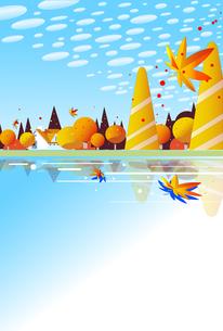 秋空と紅葉と湖のイラスト素材 [FYI04898376]