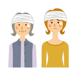 頭に包帯を巻く女性のイラスト素材 [FYI04898484]