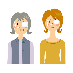 眼帯をする女性のイラスト素材 [FYI04898485]