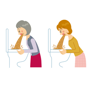 トイレに吐く女性のイラスト素材 [FYI04898489]
