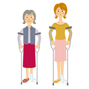 足を骨折する女性のイラスト素材 [FYI04898494]
