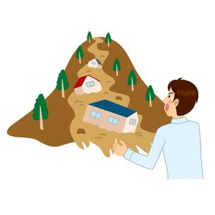 土砂崩れにびっくりする男性のイラスト素材 [FYI04898503]