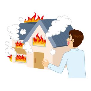 家が火事にあう男性のイラスト素材 [FYI04898504]