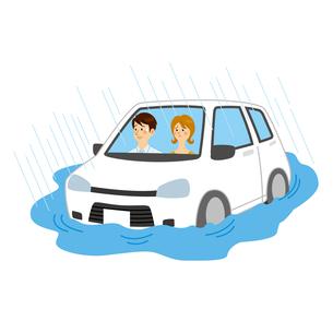 浸水する車に乗る男女のイラスト素材 [FYI04898506]