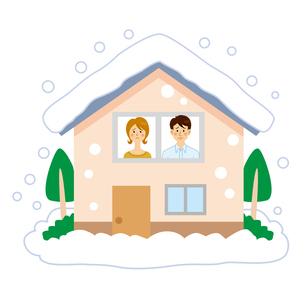 大雪で家から出れない男女のイラスト素材 [FYI04898509]