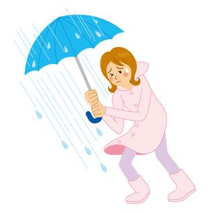 大雨の中、傘をさす女性のイラスト素材 [FYI04898522]