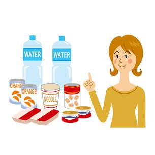 食料を備蓄する女性のイラスト素材 [FYI04898526]