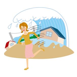 津波から逃げる女性のイラスト素材 [FYI04898529]