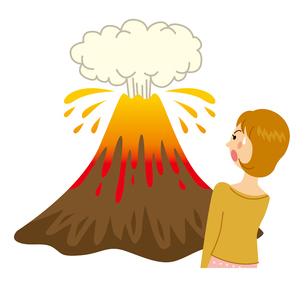 火山が噴火して怖がる女性のイラスト素材 [FYI04898530]