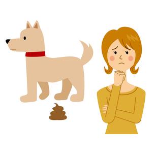 犬の糞に困る女性のイラスト素材 [FYI04898536]