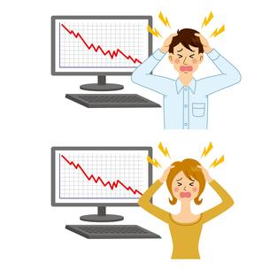 株価が下落してショックを受ける男女のイラスト素材 [FYI04898541]