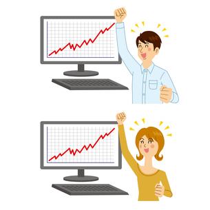 株価が上がる男女のイラスト素材 [FYI04898542]