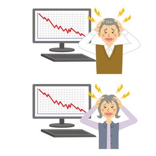 株価が下落してショックを受ける男女のイラスト素材 [FYI04898550]