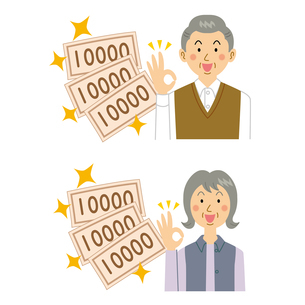 お金が増えて喜ぶ男女のイラスト素材 [FYI04898554]