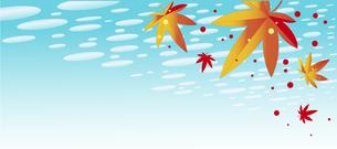 紅葉が舞い散る秋空の爽やかな背景のイラスト素材 [FYI04898585]