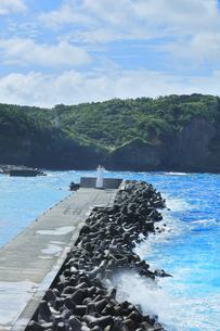 小笠原諸島 母島の鮫ヶ崎展望台より台風接近の荒れる海の写真素材 [FYI04898994]