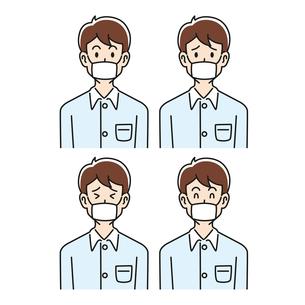 マスクをした男性の色々な表情のイラスト素材 [FYI04899129]