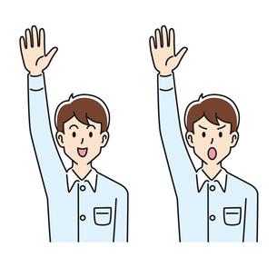 手を挙げる男性の表情のパターンのイラスト素材 [FYI04899133]