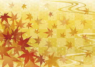紅葉と和柄 秋の和風背景のイラスト素材 [FYI04899332]