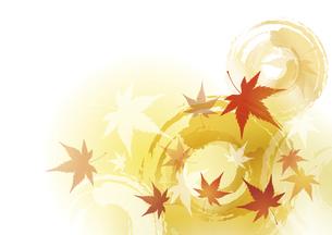 紅葉と波紋 秋の背景のイラスト素材 [FYI04899417]