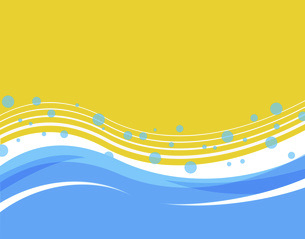 波 夏 海 ウェーブ ハワイ メッセージスペース 暑中見舞い 涼のイラスト素材 [FYI04899550]
