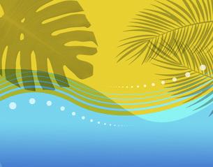 海 海岸 モンステラ 夏 暑中見舞い ハワイイメージ 水玉模様のイラスト素材 [FYI04899554]