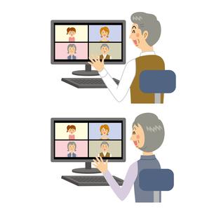リモート会議をする老夫婦のイラスト素材 [FYI04899824]