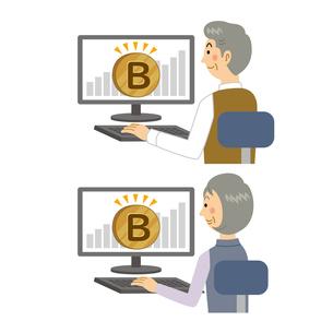 仮想通貨を運用する老夫婦のイラスト素材 [FYI04899825]