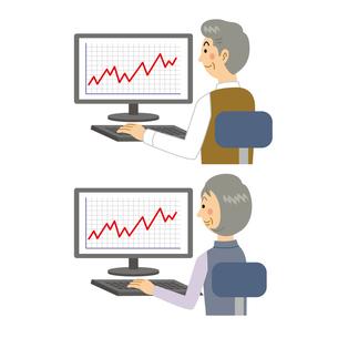 株価が上がる老夫婦のイラスト素材 [FYI04899826]