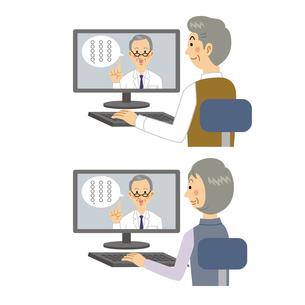 オンライン診療を受ける老夫婦のイラスト素材 [FYI04899829]