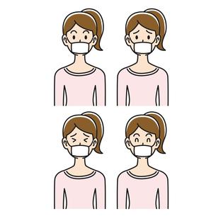 マスクをした女性の色々な表情のイラスト素材 [FYI04899847]