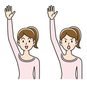 手を挙げる女性の表情のパターンのイラスト素材 [FYI04899851]