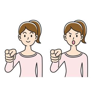 指摘のポーズをする女性のイラスト素材 [FYI04899853]
