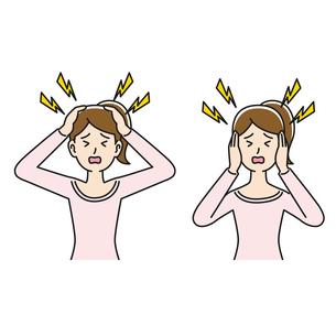 頭痛と騒音に悩む女性のイラスト素材 [FYI04899856]