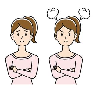 悩む&怒る表情の女性のイラスト素材 [FYI04899858]