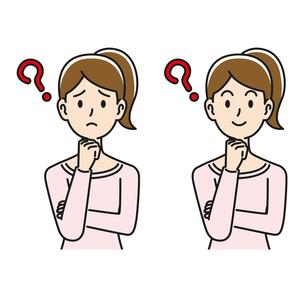 悩んだり考えたりする女性のイラスト素材 [FYI04899859]