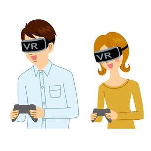 VRゲームをする男女のイラスト素材 [FYI04899863]