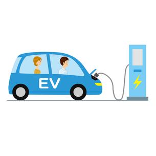 充電する電気自動車のイラスト素材 [FYI04899873]